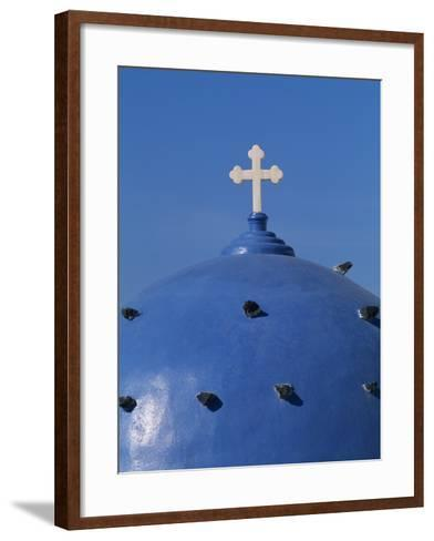 Blue dome of a church with cross on Santorin, Greece-Murat Taner-Framed Art Print