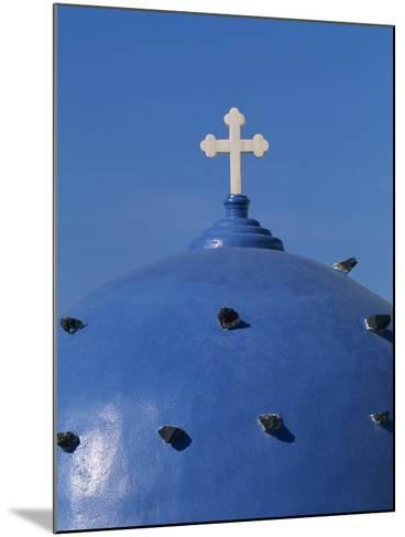 Blue dome of a church with cross on Santorin, Greece-Murat Taner-Mounted Photographic Print