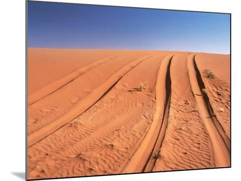 Tyre marks in the desert--Mounted Photographic Print