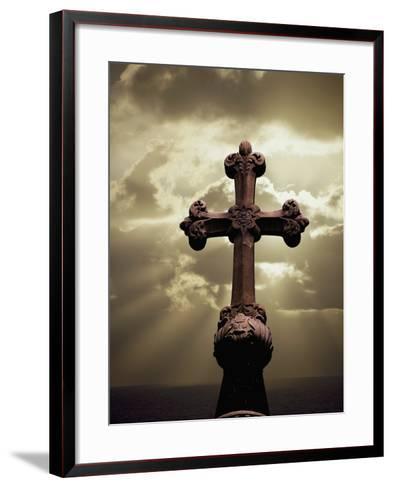 Sunbeams Backlighting Cross-Jim Zuckerman-Framed Art Print