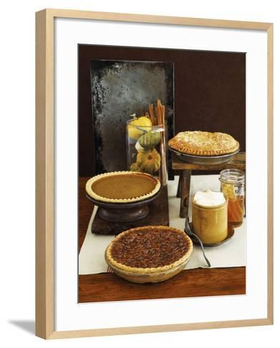 Autumn Pies: Apple/Pear, Pumpkin, and Pecan with Honey and Whipped Cream-Envision-Framed Art Print