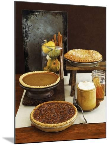 Autumn Pies: Apple/Pear, Pumpkin, and Pecan with Honey and Whipped Cream-Envision-Mounted Photographic Print