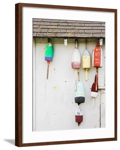 Lobster Buoys on Hut-Tom Grill-Framed Art Print