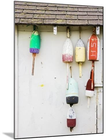 Lobster Buoys on Hut-Tom Grill-Mounted Photographic Print