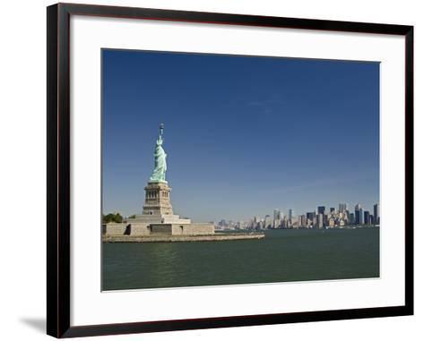 Statue of Liberty, Liberty Island and New York Skyline-Tom Grill-Framed Art Print