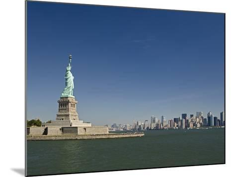 Statue of Liberty, Liberty Island and New York Skyline-Tom Grill-Mounted Photographic Print