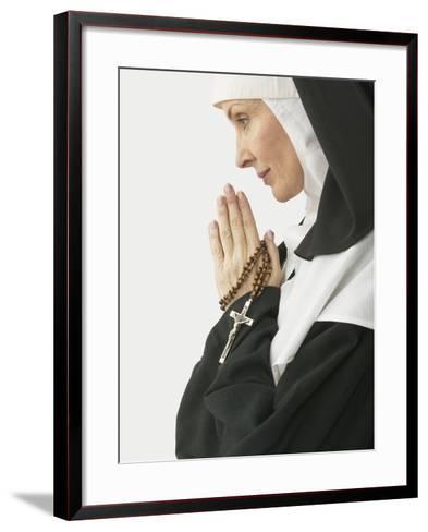 Praying Nun Holding Rosary--Framed Art Print
