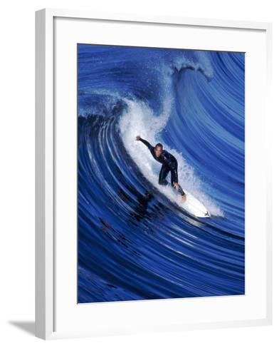 Surfer Riding a Wave-David Pu'u-Framed Art Print
