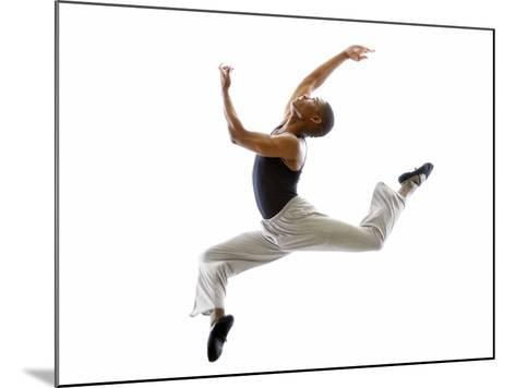 Ballet Dancer Mid-air in Jump-Tim Pannell-Mounted Photographic Print