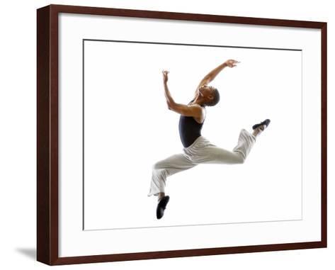 Ballet Dancer Mid-air in Jump-Tim Pannell-Framed Art Print