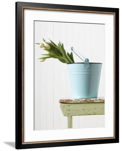 Bouquet of White Tulips in Bucket--Framed Art Print