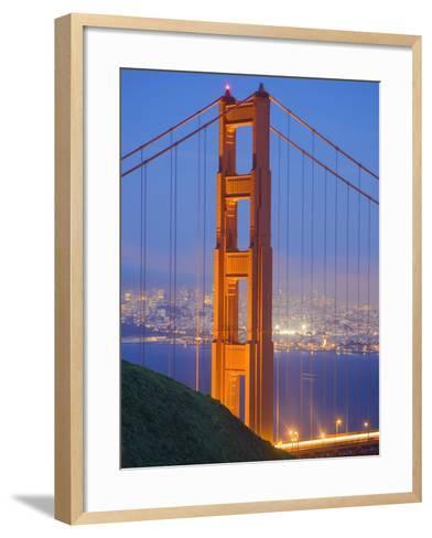 Tower of Golden Gate Bridge and San Francisco at Dusk-Julie Eggers-Framed Art Print