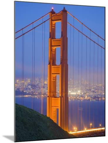 Tower of Golden Gate Bridge and San Francisco at Dusk-Julie Eggers-Mounted Photographic Print