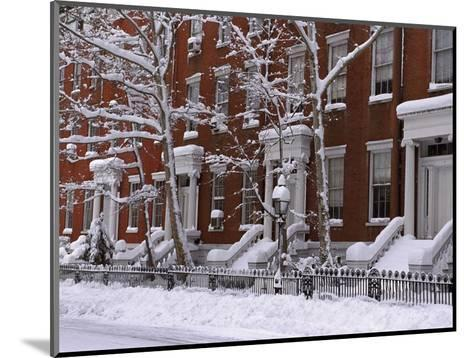 Brownstones in Blizzard-Rudy Sulgan-Mounted Photographic Print