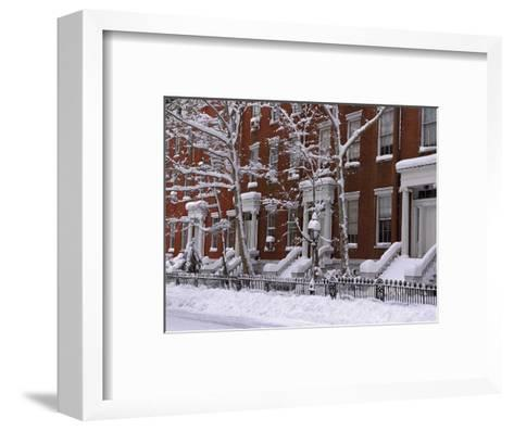 Brownstones in Blizzard-Rudy Sulgan-Framed Art Print