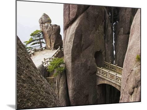 Bridge in the Huangshan Mountains-Frank Lukasseck-Mounted Photographic Print