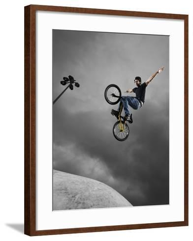 BMX Biker Performing Tricks--Framed Art Print