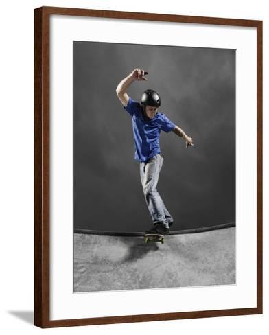 Skateboarder Performing Tricks--Framed Art Print