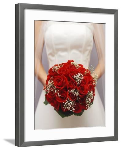 Bride with bridal bouquet--Framed Art Print