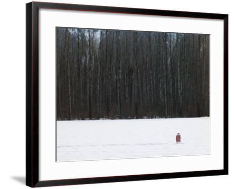 Football in Snow Covered Field--Framed Art Print