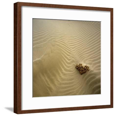Rock Eroding in Desert Sand-Micha Pawlitzki-Framed Art Print