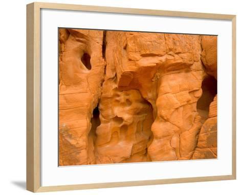 Eroded Sandstone Cliff With Holes-John Eastcott & Yva Momatiuk-Framed Art Print
