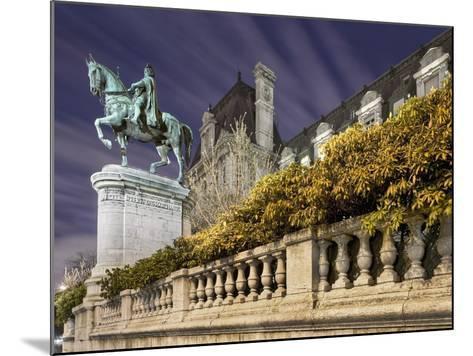 Equestrian Statue Outside Hotel de Ville-Peet Simard-Mounted Photographic Print