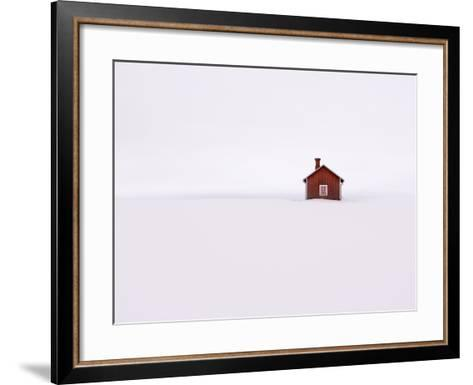 Red Wooden House Surrounded by Snow-Bruno Ehrs-Framed Art Print