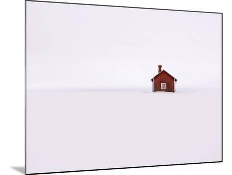 Red Wooden House Surrounded by Snow-Bruno Ehrs-Mounted Photographic Print