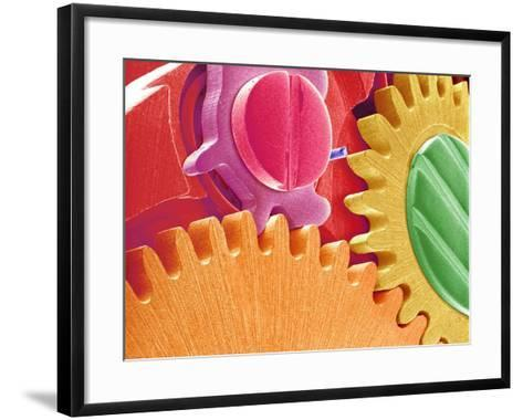 Multicolored Watch Gears-Micro Discovery-Framed Art Print