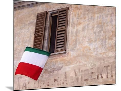 Italian Flag Hanging from Window-Martyn Goddard-Mounted Photographic Print