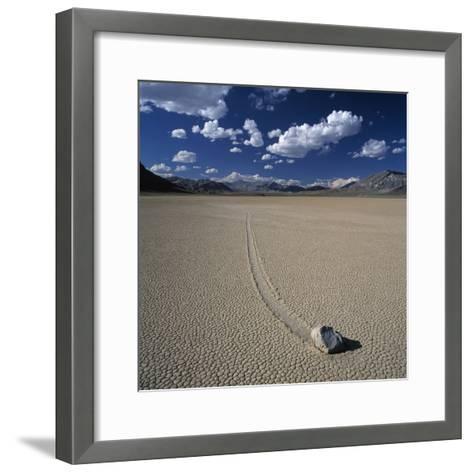 Rock Pushed by Wind in Desert-Micha Pawlitzki-Framed Art Print