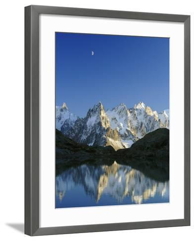 Aiguilles de Chamonix and and Mont Blanc reflected in Lac Blanc at sunset-Frank Lukasseck-Framed Art Print