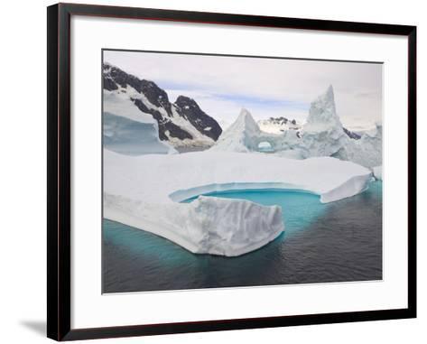 Stranded Icebergs in Shallow Bay Near Boothe Island-John Eastcott & Yva Momatiuk-Framed Art Print