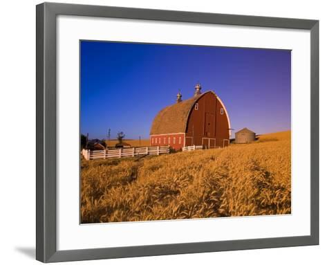 Wheat Field and Barn at Sunrise-Craig Tuttle-Framed Art Print