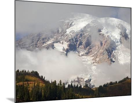 Mount Rainier in the Clouds-Craig Tuttle-Mounted Photographic Print