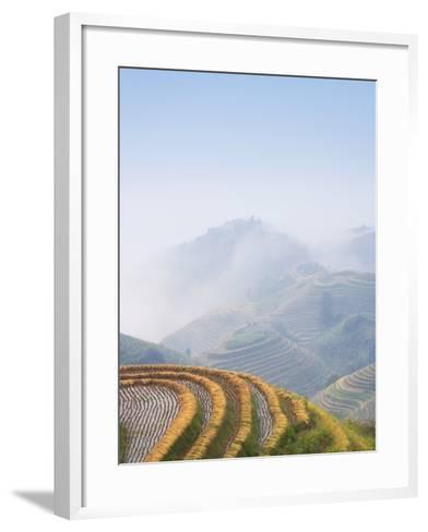 Rice Growing on Terraced Fields on Mountain Slopes-Keren Su-Framed Art Print