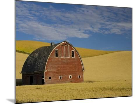 Red Barn in Wheat Field-Darrell Gulin-Mounted Photographic Print