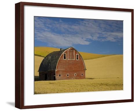 Red Barn in Wheat Field-Darrell Gulin-Framed Art Print