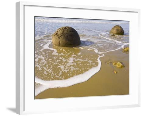 Large Moeraki Boulders on Koekoche Beach-John Eastcott & Yva Momatiuk-Framed Art Print