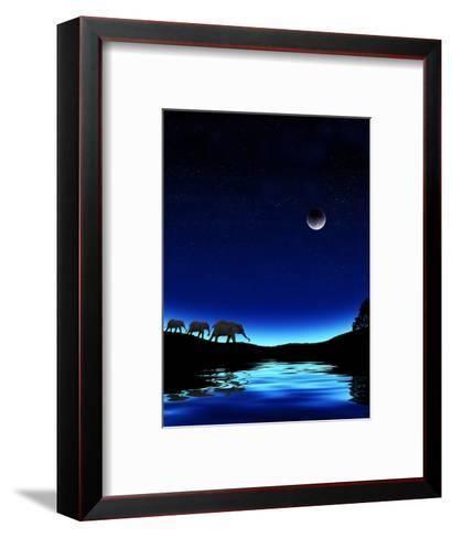 Three Elephants Walking Past Water-Mike Agliolo-Framed Art Print