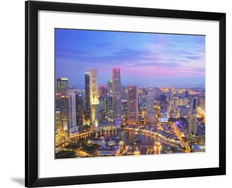 Singapore Skyline at Dusk-Paul Hardy-Framed Art Print