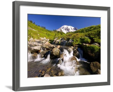 Waterfall and Mt. Rainier-Craig Tuttle-Framed Art Print