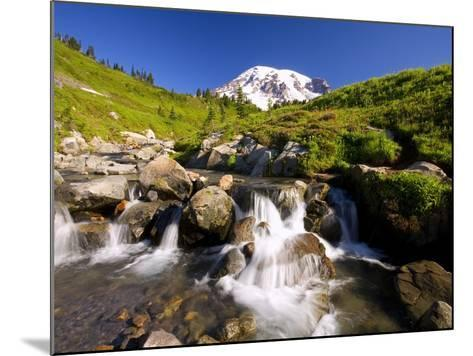 Waterfall and Mt. Rainier-Craig Tuttle-Mounted Photographic Print