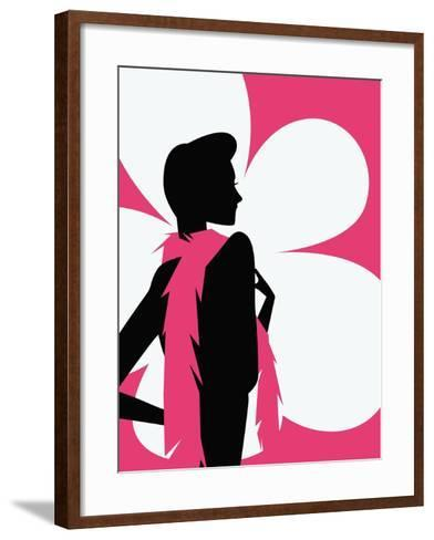 Woman with a pink scarf--Framed Art Print