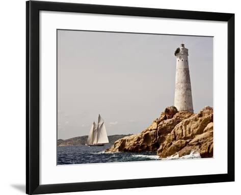 Shenandoah of Sark Schooner Sails Past Sardinia's Monaci Lighthouse on Costa Smeralda-Onne van der Wal-Framed Art Print