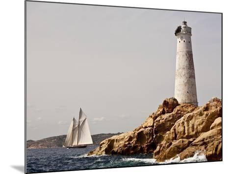 Shenandoah of Sark Schooner Sails Past Sardinia's Monaci Lighthouse on Costa Smeralda-Onne van der Wal-Mounted Photographic Print