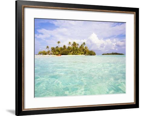 Sea kayaks on the beach of a coconut palm tree island-Frank Lukasseck-Framed Art Print