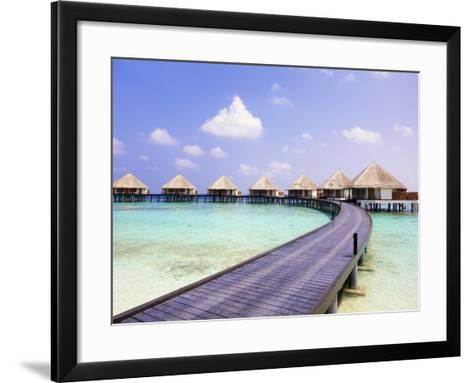 Water bungalows and jetty-Frank Lukasseck-Framed Art Print