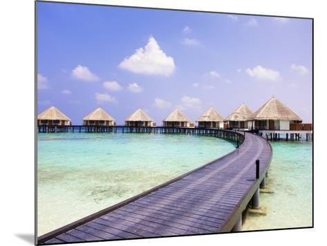 Water bungalows and jetty-Frank Lukasseck-Mounted Photographic Print